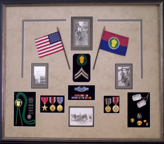 Old Main Frame - Military Flags and Medals