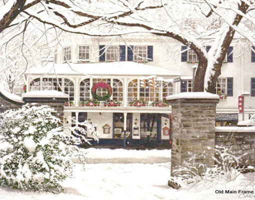 State College Christmas on the Corner Print | Old Main Frame Shop