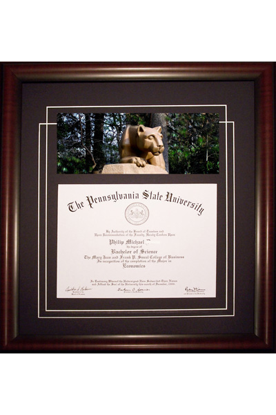 Diploma Frame with Penn State Panoramic Photo | Old Main Frame Shop