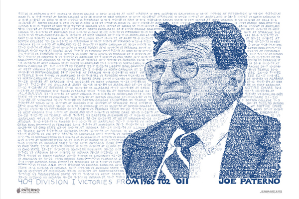 Joe Paterno 409 Wins | Old Main Frame Shop & Gallery