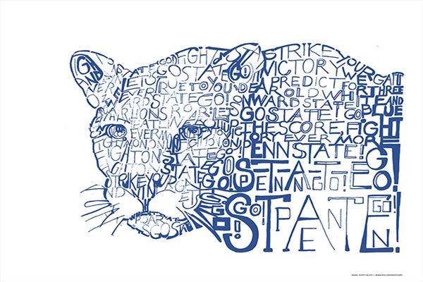 Penn State Fight Song Lyrics Art For Sale