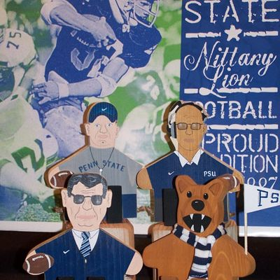 Penn State Football Wooden Figures - Paterno, Franklin, Nittany Lion