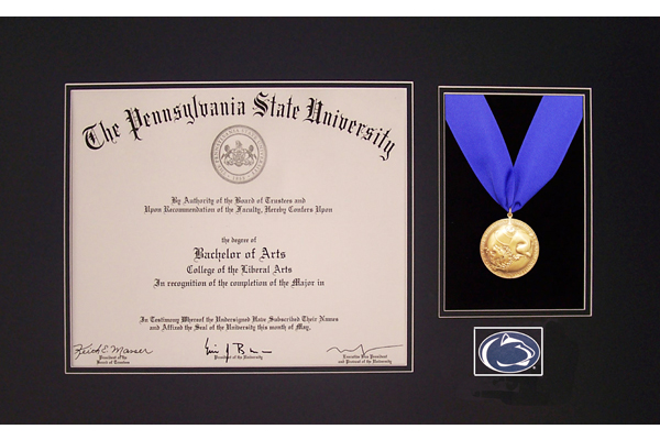 The Scholar Penn State Diploma Frame With Medal