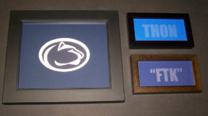 FTK etched glass with PSU logo